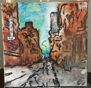 Size: 27 * 27 cm Paint at canvas, and here i use mixed media, graphic arts and painting and above